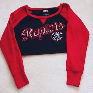 TO Raptors crop raw hem sweatshirt size M